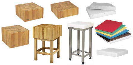 Chopping block and chopping boards