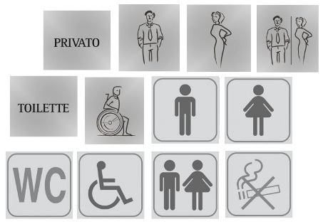 Labels Pictograms for public toilets
