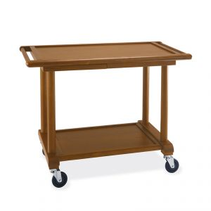 6100 Wooden service trolley, stained walnut, 2 floors