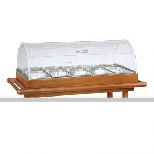 6100B Set per antipasti - cupola e bacinelle - tinta noce