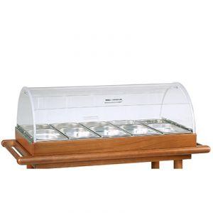 6100BW Set per antipasti - cupola e bacinelle - tinto wengé