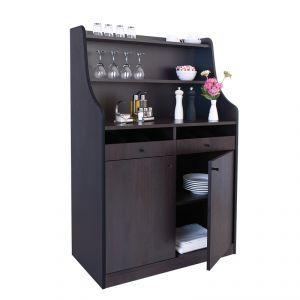 1600FW Mobile colore wengé, 2 sportelli, alzatina, 2 cassetti portaposate aperti