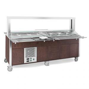 6920CPB.6F3M-W Buffet misto GN 6/1, 3 caldi-3 freddi, parafiato mobile, armadiato, illuminazione a led, tinto wengé