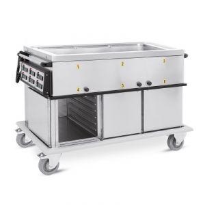 7360A2-GS Chariot GN 2/1 bac simple 2 compartiments chauds avec guides imprimés H1