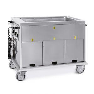 7365A1 Chariot GN 3/1 simple réservoir 2 neutre + 1 boîte chaude
