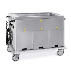 7368A3 Carrello termico GN 4/1 vasca unica vani 1 neutro + 3 caldi
