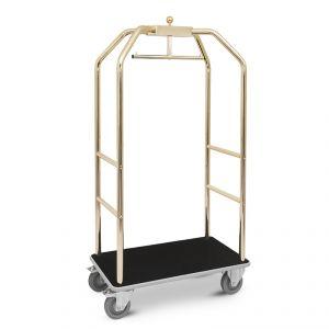 Portabiti/portabagagli, ottonato, moquette nera cm 79x59x189h, ruote elastiche, 2  2 frenate