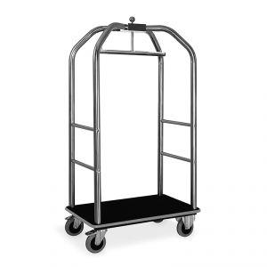 Portabiti/portabagagli, struttura inox lucido, moquette nera cm 99x59x189h