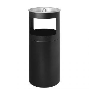 2530N Gettacarta/posacenere nero micaceo, coperchio a rete, Ø cm 25x62h