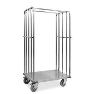 """1830-EINOX Carrello """"roll container"""", 1 base+2 sponde, ruote supporto inox, elastiche, 2  2 frenate"""
