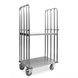 """1831-EINOX Carrello """"roll container"""", 1 base+2 sponde, ripiano intermedio, ruote supporto inox, elastiche, 2  2 frenate"""