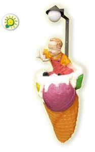 SG018A Cornet de crème glacée avec enfant en fibre de verre à fixer