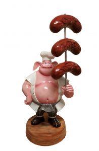 SR004A WURSTEL avec cochon - WURSTEL publicité 3D pour la gastronomie en hauteur 230 cm