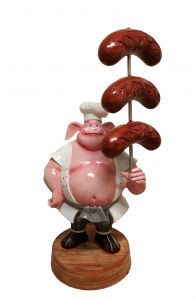 SR004A WURSTEL with pig - WURSTEL 3D advertising for gastronomy height 230 cm
