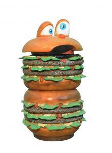 SR014 Papeles de desecho para hamburguesas - Papel de desecho de publicidad 3D para gastronomía altura 133 cm