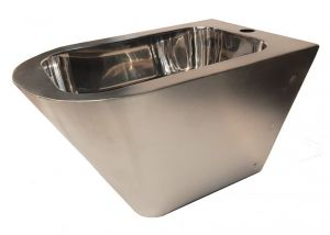 """LX3512 Professional suspended bidet """"GQ"""" satin finish - in Aisi 304 stainless steel"""