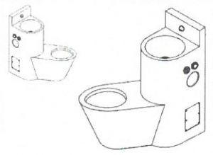 LX3690 WC combinaison professionnel avec évier - Droite - version brillante