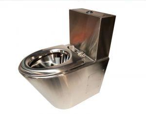 LX3760 Toilette monobloc Satin Professional avec tiroir à 2 tiroirs et siège en acier inoxydable
