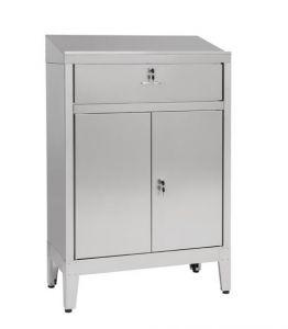 IN-699.02.430C Bureau armoire à 2 portes avec tiroir en AISI 430 - dim. 80x40x115H