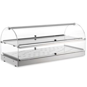 VET7025 Stainless steel heated showcase 2 shelves 80x35x38h