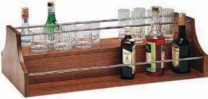 A1270 Espositore liquori legno noce da appoggio 68x46x37h