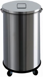 AV4671 Stainless steel dustbin on wheels manual opening 63 liters