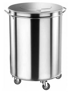 AV4669 Stainless steel Wheeled cylindrical refuse bin 100 liters