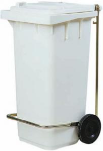 AV4674 Portarifiuti polietilene bianco 2 ruote 100 litri PEDALE OPTIONAL