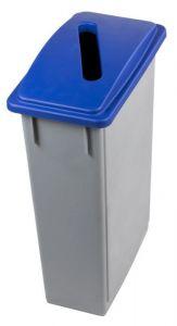 T102205 Corbeille Gris avec couvercle avec ouverture fente Bleu polypropylène 90 litres