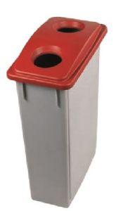T102207 Poubelle Gris avec couvercle avec 2 trous polypropylène rouge 90 litres