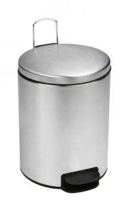 T112035 Poubelle à pédale en acier inox brillant Couvercle à fermeture silencieuse 3 litres