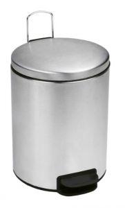 T112059 Poubelle à pédale en acier inox satiné Couvercle à fermeture silencieuse 5 litres