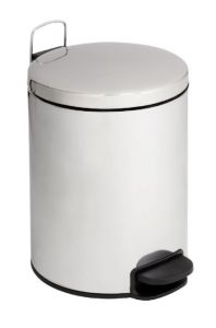 T112125 Polished stainless steel Pedal bin with silent closing lid 12 liters