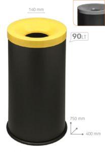 T770024 Corbeille à papier anti-feu métal noir avec couvercle Gris 90 litres