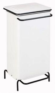 T791224 Conteneur à pédale statique en acier blanc 110 liters