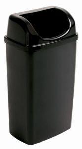 T907501 Poubelle avec couvercle dissimulant en polypropylène noir 50 litres