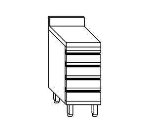 CA3008 Cassettiera in acciaio inox con 4 cassetti e alzatina 40x70x85