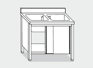 LT1011 Lavatoio su Armadio in acciaio inox 2 vasche alzatina 140x60x85