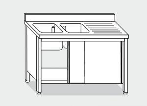 LT1015 Lavatoio su Armadio in acciaio inox 2 vasche 1 sgocciolatoio dx alzatina 190x60x85