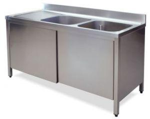 LT1019 Lavatoio su Armadio in acciaio inox 2 vasche 1 sgocciolatoio sx alzatina 180x60x85