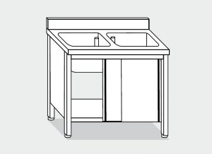 LT1036 Lavatoio su Armadio in acciaio inox 2 vasche alzatina 100x70x85