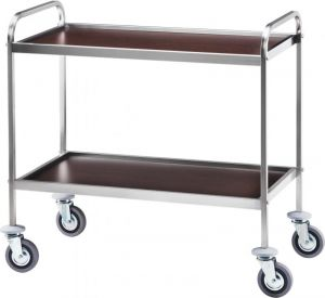 CA 1000W Stainless steel service trolley 2 wood wenge shelves 83x57x97h