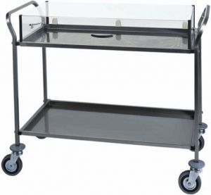 CA 1162 Stainless steel trolley for cakes cheese Plexiglass cover 2 shelves