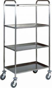 CA 1380 Stainless steel Multiservice Trolley 4 Shelves 91x57x172h