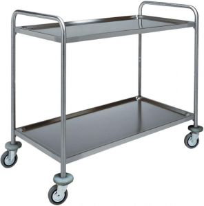 CA 1390 Stainless steel trolley 2 shelves 100 kg 90x60x94h