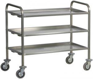 CA 1395P Stainiess steel service trolley heavy trantrasport 200 Kg 2 shelves 112x67x98h