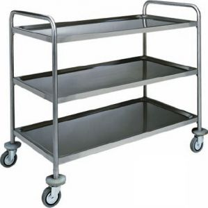 CA 1410 Stainless steel service trolley 3 shelves load 100 kg 90x60x104h