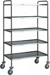 CA 1426 Stainless steel service trolley 5 shelves load 100 kg  90x60x170h