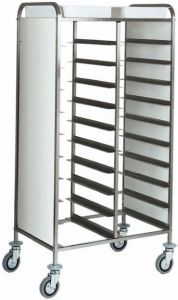 CA1460P Stainless steel tray holder for 20 trays Side panels in white perfex