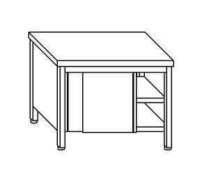 TA4004 Tavolo armadio in acciaio inox con porte su un lato 110x60x85